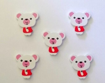 5 Wooden Red and White Teddy Bear Button -  #SB-00147