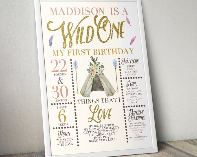 Wild one, photo prop, sign, TEEPEE Brthday, Aztec, arrow, pow wow, BOHO, Tribal, first birthday, 1st birthday, Gold