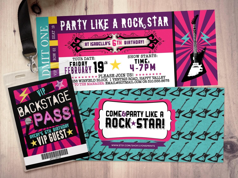 Pop star Rock Star concert ticket birthday party invitation – Ticket Birthday Party Invitations