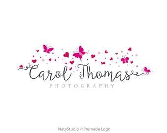 Custom Logo Design Premade Logo for Photographers - heart logo butterfly logo photography logo business design boutique logo small shop logo