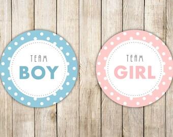Digital POLKA DOTS GENDER Reveal Stickers, Baby Shower Party Labels, Team Girl Team Boy Tags, Diy Gender Reveal Printable, Instant Download