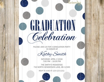 BLUE GRADUATION PARTY Invitation, Blue Silver Glitters Graduation Party Invite, Class of 2015 Graduation Celebration, Diy Digital Printable