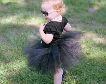 Black tutu - Black Baby Tutu - Black Toddler Tutu - Black Girls Tutu - Black Birthday Tutu - Halloween Tutu Skirt - Audrey Hepburn costume