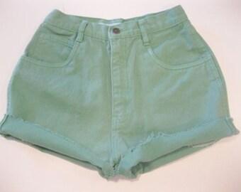 Vintage 1980's YOYO Jeans Cut Off Shorts high waist mint green denim juniors sz  5 7 (9)
