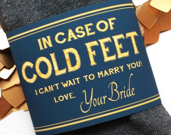 Printable Cold Feet Grooms Socks Label- Groom Gift from Bride- Navy and Gold- Instant Digital Download