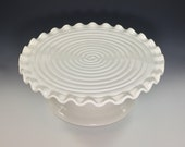 Reserved for Sarah Jane - Large Porcelain Cake Stand with matching saucer - in beautiful translucent white glaze