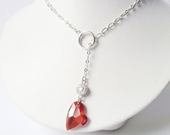 VALENTINE HEART -Red Heart Lariat - Red Valentine - Swarovski Red Crystal - Heart Necklace - Red Heart