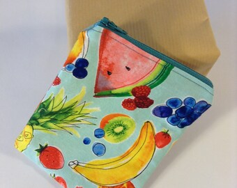 Handmade Zippered Pouch, Fruit, Blue Zipper