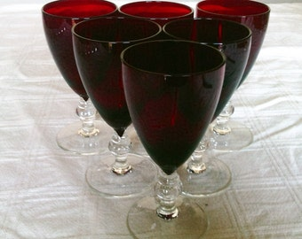 Six Vintage Decorative Elegant Ruby Red Wine Glasses with Clear Stems