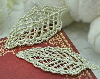10 GOLD LEAF Leaves Applique Sew On Patch Lace Trim 2.5cm Wide