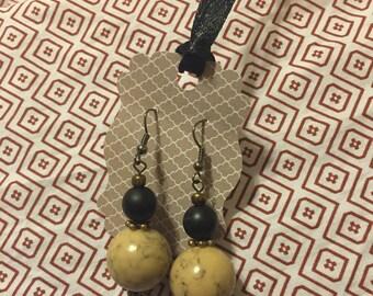 Handmade Dangle Black/Tan/Bronze Earrings