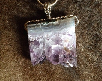 Silver wire wrapped amethyst slice necklace