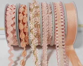 Lot 6 Types 12 Yards orange peach Pom Pom Trim, ribbon insert braided velvet trim fringe curtain,pillow,handmade DIY handcraft sewing