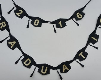 Graduation 2016 bunting banner. Gold glitter and black mortar board/ graduation cap banner. Graduation party decor
