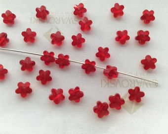 36 pieces Swarovski #5744 6mm Crystal Light Siam Red Flower Faceted Beads