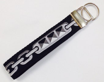 Chains/Studs/Links Jacquard Ribbons Designer Key Fob/Lanyard/Luggage Tag;  Backpack Tag/Badge Holder;Guy Lanyard; Guy Gift Item;