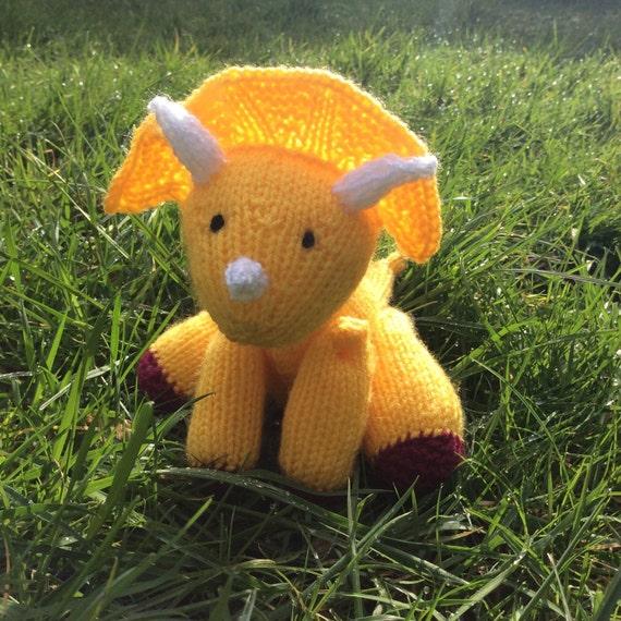 Triceratops knitting pattern soft toy stuffed animal beginner intermediate dinosaur PDF download