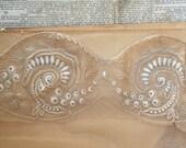 Vintage Art Nouveau 1920s delicate pink & oyster lingerie lace bodice, costume design, vintage wedding, boudoir slip negilee lace