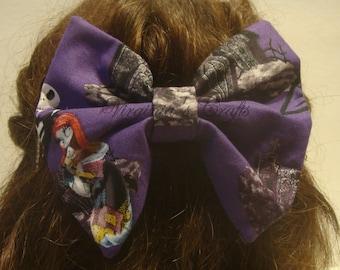 Nightmare Before Christmas Fabric Hair Bow Big
