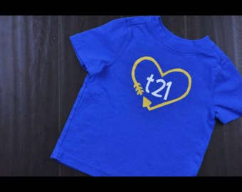"Down Syndrome Awareness Shirts ~ ADULT SIZES - Unisex Men and Women, Royal Blue T-shirt with Yellow and White ""T21"" Logo with Arrow Heart"