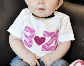 "Down Syndrome Awareness Onesies or T-shirts ~ Baby, Toddler, and Child sizes - Pink ""321"" with Pink Heart on White"