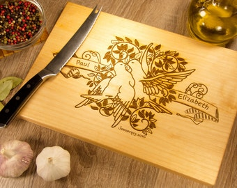 Chopping board personalised, personalized board, love birds cutting board. FREE - Gift Wrap!!!