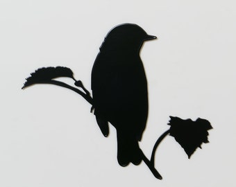 Bird 6 Branch with Leaves Silhouette - Metal Wall Art - Single layer - (DD6--a)