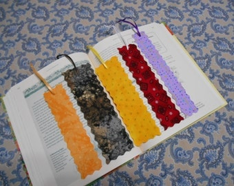 FREE Shipping on Lot of 5 Fabric or Cloth Bookmarks Multi Color and Size