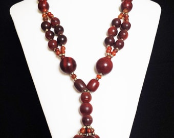 Hand Made Yak Bone and Bead Necklace