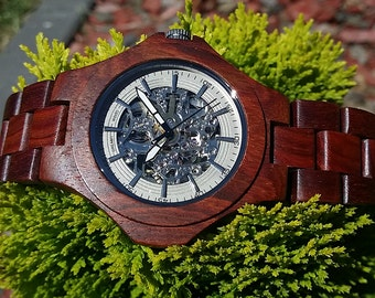 buy one cherrywood Transparent Automatic Mechanical watch and get one FREE ladies' watch