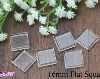 16mm Flat Square Glass Tiles Cabochon- High Clarity  Square DIY Craft Glass Cover-Jewelry Making Glass- Transparent Glass Cover for Cufflink
