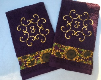 Custom Embroidered 2 Purple Hand Towel With Monograme and Sun Flowers' Guest Towel, Hosue Warming Gift, Bath Decor, Gift,  Bath Accessories