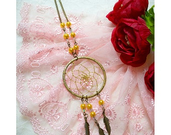 ON SALE - Dreamcatcher necklace ,Dream Catcher handmade crystal beads necklace in gold