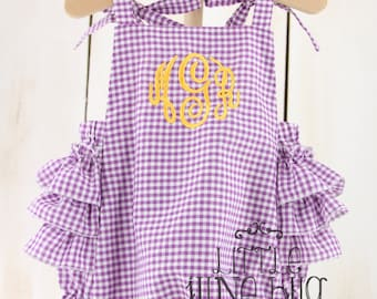 Gingham Monogram Ruffle Sunsuit Romper, Gingham Sunsuit Bubble Romper, Gingham Monogram Ruffle Romper