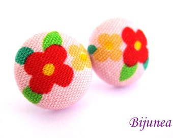 Flower earrings studs -Pink Flower posts - Flower studs - Spring Flower earrings - Flower jewelry - Earrings cherry sf572
