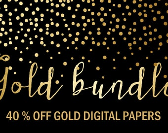 Gold  Bundle 40% OFF:  Gold Digital Papers. Confetti, Christmas, Wedding, Gold Foil and Bokeh Backgrounds. 58 images, 300 Dpi. Jpg files.