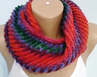 Knit Infinity Scarf Neck Warmer Circle scarf Colorful Scarf