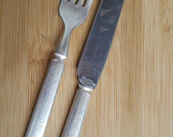 Antique WALLACE Co 1900 WINDSOR Solid Indented Dinner Knife & Fork, Set of 2