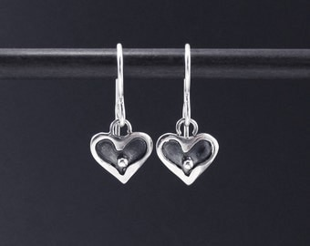 Small Heart Earrings Sterling Silver Dangles. Oxidized Earrings, Simple Earrings, Everyday Earrings