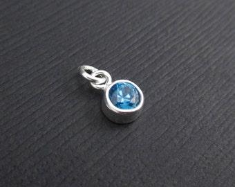 Add a Birthstone Charm Dangle - December Birthstone Charm Sterling Silver, Blue Topaz CZ Charm Dangle, Birthstone Charms, Bezel Charms