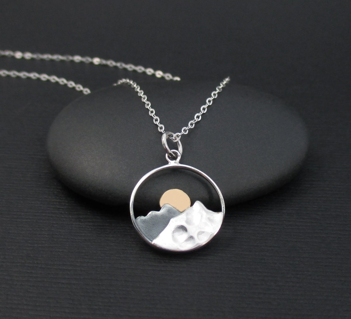 Mountain Range Necklace Sterling Silver Mountains With Bronze