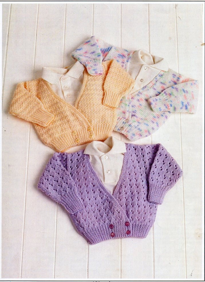Knitting Pattern Cardigan 8 Ply : baby crossover cardigan knitting pattern PDF baby girls double