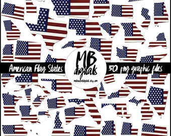 AMERICAN FLAG State Clipart, 50 State Shapes, United States, USA, America Clipart, Instant Download