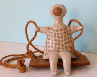 David Stewart Lions Valley Pottery Sitting Girl on a Swing Figurine Danish Modern Stoneware Ceramic