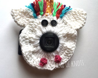 Unicorn camera lens buddy, crochet camera buddy, unicorn camera buddy, camera accessories, photography props, photo props, crochet unicorn