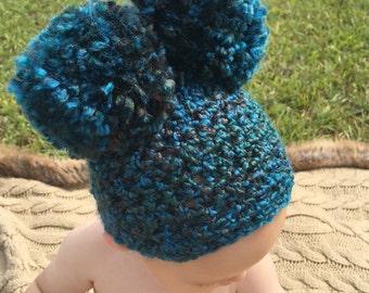 Crochet double pom pom hat ,newborn pom pom hat, big pom pom hat, baby double pom pom hat, baby pom pom hat, pom pom hat photo prop.