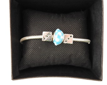 Roll the lucky dice .....  charm bracelet  with blue/white charm-bead