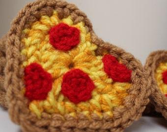 Crochet Heart Applique, Crochet Pizza Heart, Crochet Pizza Applique, Crochet Valentines Applique, Pizza Valentine, Foodie Valentines Gift