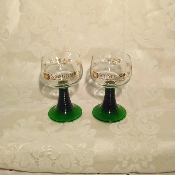 Schmitt Sohne Green Stemmed Wine Glasses