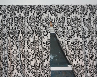 Curtains Ideas black and white damask curtains : Damask curtain panel | Etsy
